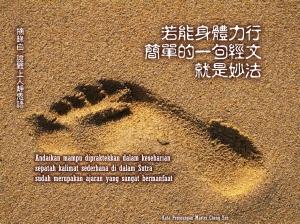 Andaikan mampu dipraktekkan dalam keseharian, sepatah kalimat sederhana di dalam Sutra sudah merupakan ajaran yang sangat bermanfaat.
